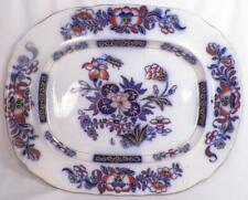 Gaudy Ironstone Flow Blue Platter Flowers Butterfly Polychrome Antique