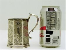 Coin Silver Childs Cup w Scrolling Leaf Motif Handle Gelston Co NY c 1835