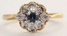Secondhand 18ct Yellow Gold Sapphire & Diamond Cluster Ring Size N 1/2