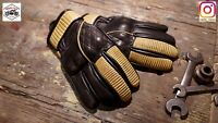 Vintage Cafe Racer Leather Glove (Vintage Brown + Yellow) Size L