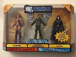 DC UNIVERSE CRISIS 3 PACK HEROES - CAPTAIN BOOMERANG - STARFIRE - RAVEN
