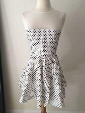 Vintage Babydoll Black and White Polka Dot Cotton Lace Dress Mini S