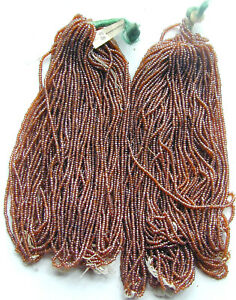 Cocoa Brown Vintage Glass Seed Beads 20 Mini Hanks Lot CLOSEOUT INVENTORY SALE!