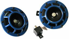 2PC BLUE SUPER LOUD GRILLE MOUNT COMPACT ELECTRIC BLAST TONE HORN DUAL 12V