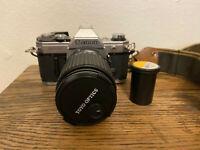 Vintage Canon AE-1 SLR 35mm Film Camera & Strap & Film, Auto Zoom f3.5-4.8 Lens