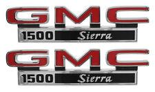 1971-1972 GMC Pick Up Truck Front Fender Emblem 1500 Sierra Pair