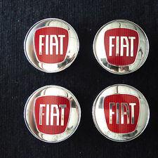 FIAT CHROME / RED ALLOY WHEEL CENTER LOGO HUB CAP EMBLEM 60MM set of 4