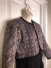 VTG Custom Made Bolero Crop Jacket Sz 12 Paisley Tapestry Velvet Trim Boho EUC!!