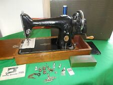 Vintage Old Singer 201k Hand Crank Sewing Machine 1950 SERVICED sews leather