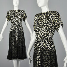 L 1940s Black White Print Dress Sheer Overlay Short Sleeves Day Wear 40s Vtg
