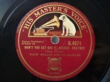 Hot 1929 Jazz 78 FATS WALLER & BUDDIES - Won't You Get Off It / Ridin' But *HEAR