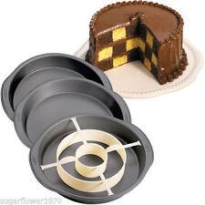 WILTON a Scacchiera Cake Pan Set 3 Pentole PLUS Anello di divisione veloce la spedizione