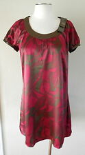 BCBG MAX AZRIA Sz S 4 6 Olive Green Pink Print Satin Short Sleeved Dress