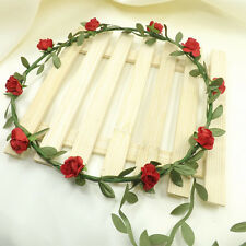 Rose Flower Bride Crown Boho Floral Wreaths Head Hair Band Wedding Party Decor
