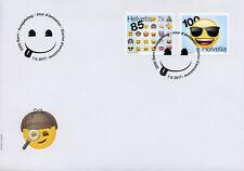Switzerland 2017 FDC Emoji Emojis 2v S/A Set Cover Stamps