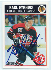 Karl Dykhuis signed 1992-93 Score hockey Chicago Blackhawks autograph #462