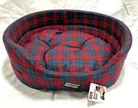Highland Red Tartan Dog  Bed Luxury Soft Cushion Pillow Red Washable