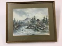 Signed Japanese Oil Painting Well Framed