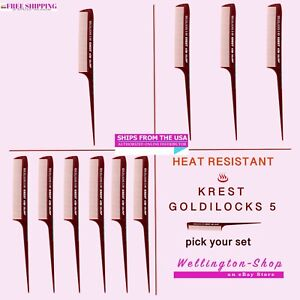 8.5 In. Krest Goldilocks #G5 Heat Resistant Hair Combs. Rattail Comb Fine Tooth
