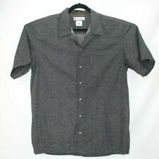COLUMBIA MEN'S SHIRT SIZE L LARGE Black Casual Button Front Short Slv EUC !