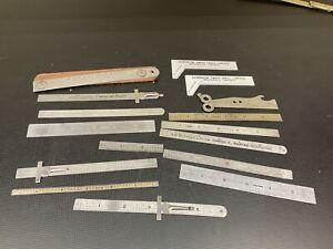large lot of vintage stainless steel rulers snap on starrett advirtising vintage