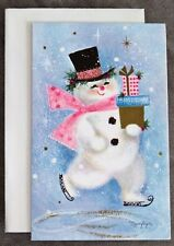 Vintage Christmas Card UNUSED Snowman Pink & Gold Top Hat Scarf Skating w/ Gifts