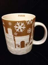 Starbucks Paris France Relief Mug Gold Christmas Eiffel Tower Louvre 2014 Cup