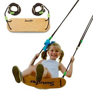 Swurfer Sway Premium Coated Maple Wood Swing & Strong Braided UV Resistant Rope