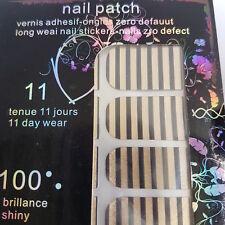 16 Gold Nail Patch Foils with Black Line Design