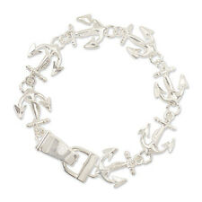 ICON Coastal Collection Silver ANCHOR Nautical Charm Link Magnetic Bracelet NWT