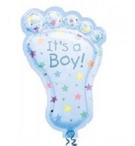 "XL 32"" Blue Footprint It's A Boy Super Shape Mylar Foil Baby Shower Balloon"