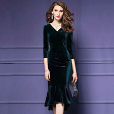 Women V-neck Ruffle Velet Slim Fit Dress Party Cocktail Bodycon Ball Gown Dress