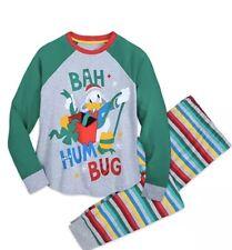 Men's NWT Disney Donald Duck Bah Hum Bug Holiday Pajama Set Striped Sz S