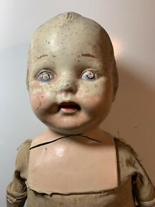 Antique Scary Composition Baby Doll Creepy Gothic Haunted House Prop Molded Hair