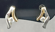 Lovely 9ct White and yellow gold / CZ Earrings