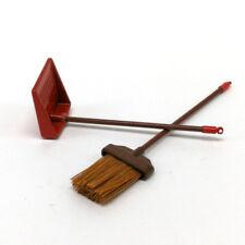 1:12 dollhouse miniature red metal long handles broom and dust pan seN`USFCA