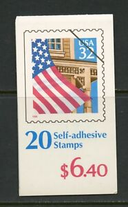 E438 United States 1996 flag over porch COMPETE BOOKLET (2 panes of 10) MNH