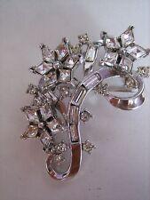 Trifari crown vintage spilla argentata con strass anni '50