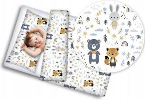 BABY BEDDING SET 120x90 PILLOWCASE DUVET COVER 2PC FIT COT Forest Friends