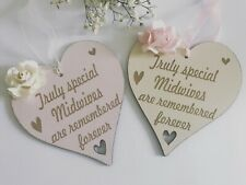 Engraved Midwives Gift Heart Hanging Plaque Sign LMG03