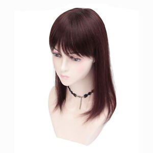 100% Human Hair Top Toupee with Bangs Straight Clip in Hairpiece Topper Cover