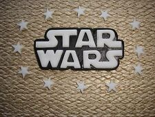 """ star wars "" logo birthday cake topper / decoration + stars in white / yellow"