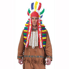 Native American Indian Headdress Multi-Color War Bonnet Adult Costume Accessory