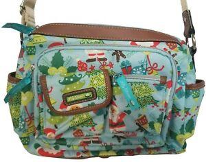 Lily Bloom Blue Santa Christmas Ornaments Trees Crossbody Purse Handbag