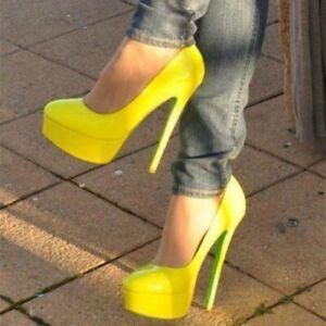 Womens Court High Heel Round Toe Pump Fashion Stiletto Platform Shoes Plus Size