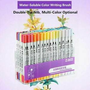 100 Colour Dual Tip Brush Pens w/ Fine liners Colouring Art Markers Drawing Hot~