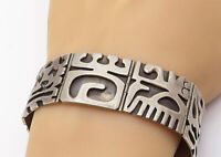 RM MEXICO 925 Silver - Vintage Traditional Pattern Square Chain Bracelet - B7716