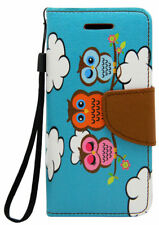 Teal Blue Brown Owls Pu Leather Wallet Case for Apple iPod Touch 6 6G 6th Gen