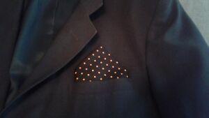 Pocket Squares, Custom Made By Linda, Black,Orange, Suit Pocket Handkerchief