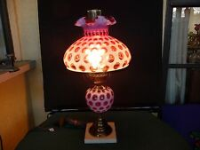 VINTAGE FENTON CRANBERRY OPALESCENT COIN DOT STUDENT LAMP